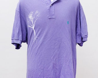 Men's Polo Shirt / Upcycled Purple Summer Polo Shirt / Screen Printed Tree / Size XL
