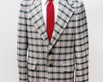 Men's Blazer / Vintage 1970s Plaid Jacket by Sears / Size 40 Medium