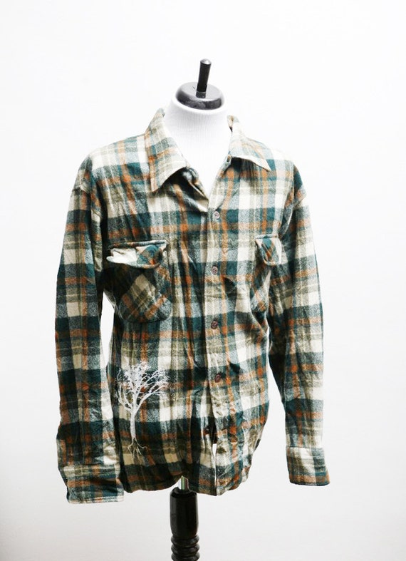 Men's XL Vintage Upcycled Flannel Shirt with Screen Printed Tree