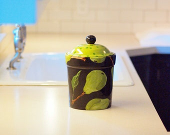 """Sugar Canister, Canister, Pottery Canister, Kitchen Canister, Pear Large 9 1/2"""" H x 6 3/8"""" Diameter -Pottery with Polka Dot Lid Cookie Jar"""