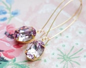 Pastel Amethyst Long Dangle Earrings, Old Hollywood Jewelry, Bridal Jewelry, Gold Earrings, Vintage Style Jewelry, Sparkly Earrings