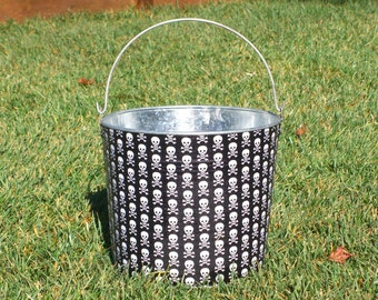 SALE Black and White Skulls Galvanized Metal Jr. Bucket - I Have Been Crafted and am Ready for Shipping