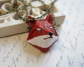 Red fox necklace, ceramic, hand painted bead, wildlife animal, woodland pendant