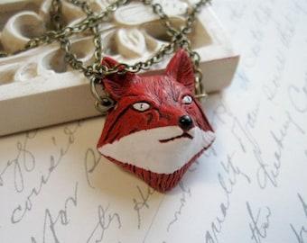 Red fox necklace, ceramic, hand painted bead, wildlife animal, woodland pendant