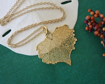 Gold Leaf Necklace, Real Leaf Necklace, Cottonwood Leaf, Gold Cottonwood Leaf ,Heart Shaped Necklace LC16