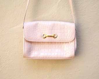 70s pink purse / CAPEZIO tote bag / faux alligator messenger style cross body bag