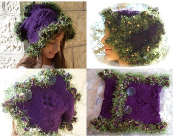 Forest Scarflette Cowl Scarf Collar crochet knitted purple violet nature olive green neck cowl cozy buttons tree choker handknit winter oak