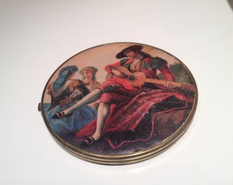 Vintage Large Compact with Two Mirrors and Great Picture on Front and Back