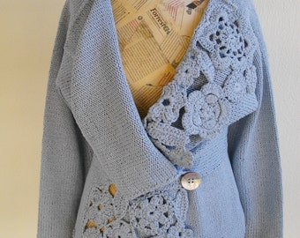 Silk knitted jacket with crochet embellishments pattern