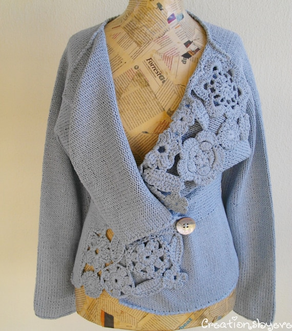 Crochet Stitch Jacket : Silk knitted jacket with crochet embellishments by creationsbyeve