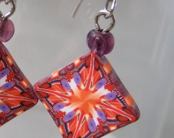 Small Orange and Purple Kaleidoscope Cane Art Clay Earrings Polymer Clay