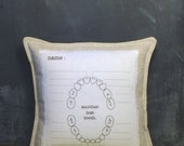 tooth fairy pillow.personalized. boys or girls tooth pillow with chart. as seen in FAMILY FUN MAGAZINE.