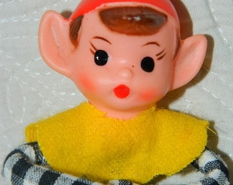Christmas 1950's Pixies Baby Face Elf Pixie retro 50 X-mas Holiday Ornament Christmas Tree Decoration, Elves, Pixie, Gnome, Yellow Checkers