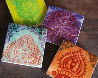 A Thousand Lights - india textile pattern stone coasters