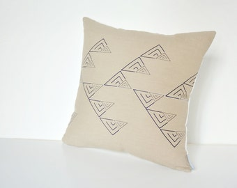 Beige linen pillow cover with geometric design in navy blue Inspired by tribal patterns