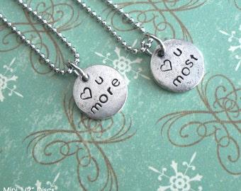"Love You More Set .. Mini Discs PLUS 18"" Chain .. Customize Design . Heart, Symbols, Monograms, Initials, Little, Tiny. silver, copper, gold"