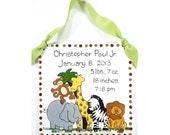 Personalized Birth Announcement Plaque - Zoo Animals Design