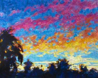 "Oil Painting, Sunset Landscape, Original Fine Art, Impressionism, 14 x 18"""