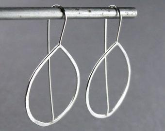 Teardrop Hoop Earrings, Hammered Silver Hoops, Minimalist Threader Earrings