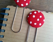 Red and White Polka Dot Fabric Covered Button Bookmarks with Large Paper Clip