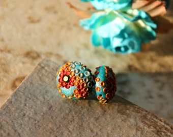 Blue Red Gold rust   - Clay Floral Stud earrings with swarowski crystal , Polymer clay in gold fill - Fun in the Sun