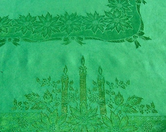 Vintage CHRISTMAS GREEN Damask Tablecloth Linen Blend