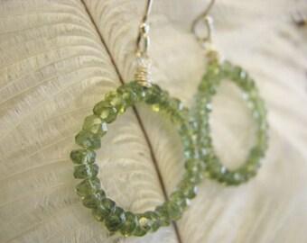 Circle green Apatite briolettes earrings. Sterling Silver green apatite earrrings