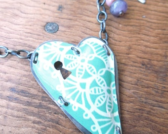 Minty green and cream. Locked Heart pendant necklace.
