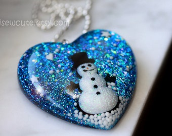 Snowman necklace, Christmas holiday jewelry, large resin glitter statement heart pendant necklace or tree ornament crafted by isewcute