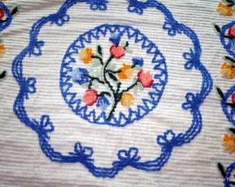 Vintage Chenille flowered bedspread pinks blues greens yellows bed spread