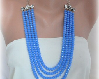 long crystal necklaces Strands ,Baby blue long Necklace , Brides ,special occasion