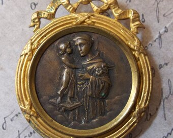 Victorian Saint Anthony Patron Of Lost Things & Missing Persons, Gold Ormolu Metal Shrine Portable Devotional Picture Ribbon, Made In France