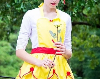 BELLE apron Beauty and the Beast  inspired retro APRON womens full costume aprons, Belle running costume