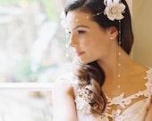 Juliette chain bridal headband, silk flowers, bridal hair, forehead band, bridal bobby pins, Style 1921