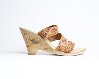 size 7 - 7.5  |  Qualicraft cork shoes | leather and cork wedge shoes | woven leather sandals | 37.5 - 38