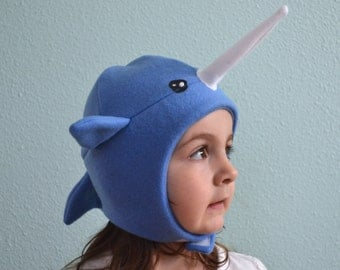 The Narwhal Whale hat,  sizes: newborn through adult