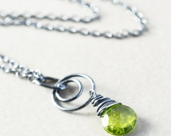 Peridot Drop Necklace, Lime Green Pendant Necklace, August Birthstone