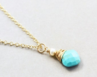 Turquoise Pendant Necklace, Pearl Necklace, December Birthstone, Sleeping Beauty Turquoise