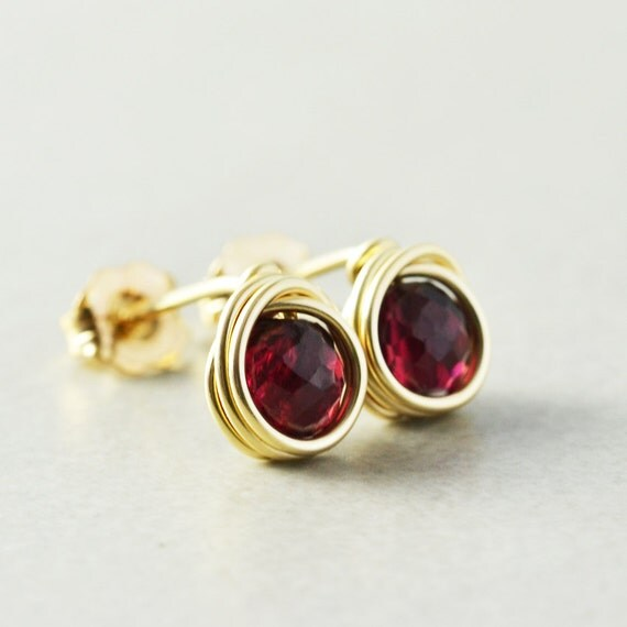 Garnet Post Earrings, Garnet Studs, January Birthstone, Garnet Jewelry