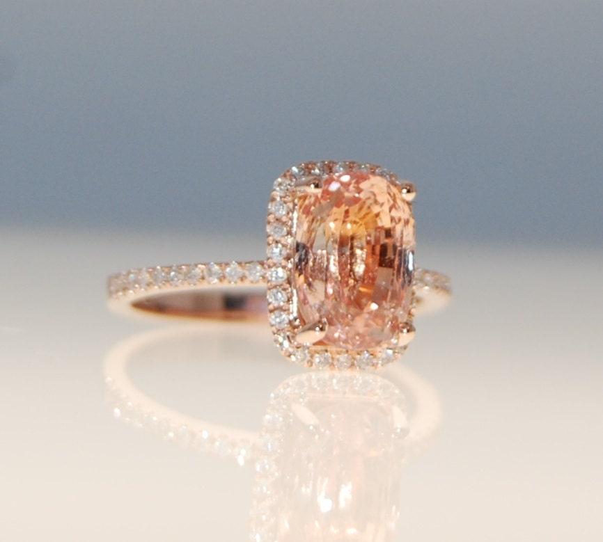 3 6ct Cushion Ginger Peach Sapphire Champagne Sapphire Ring