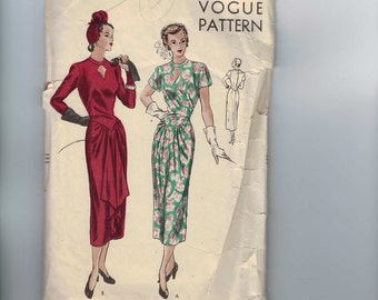 1940s Vintage Sewing Pattern Vogue 6292 Misses Draped Front Keyhole Neckline Dress Size 14 Bust 32 1948 40s