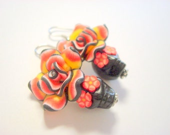 Red, Yellow, and Black Day of the Dead Roses Sugar Skull Earrings