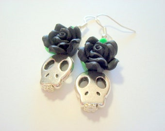 Black Roses and Silver Sugar Skull Day of the Dead Earrings