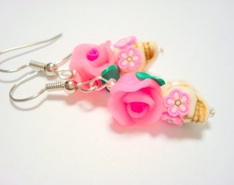 Tiny Pretty Pink Day of the Dead Sugar Skull and Rose Earrings