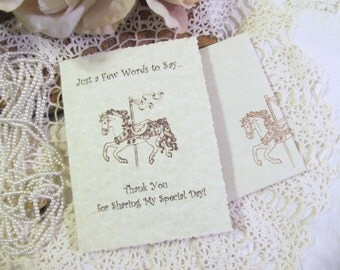 Carousel Horse Thank You Parchment Notecards w/envelopes - Set of 10 - Baby Bridal Shower Birthday Circus Carnival