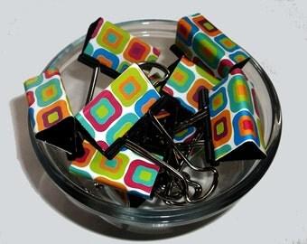 """Binder Clips - """"Color Squares"""" 12 medium binder clips"""