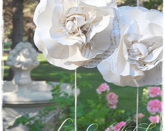 ONE 7 ft Long Paper Flower Garland - Vintage Book Pages Paper Roses Wedding Garland - Decor Backdrop Photo Prop