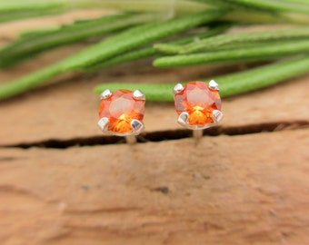 Orange Sapphire Earrings in Gold, Silver, Platinum, or Palladium with Genuine Gems, 3mm - Free Gift Wrapping