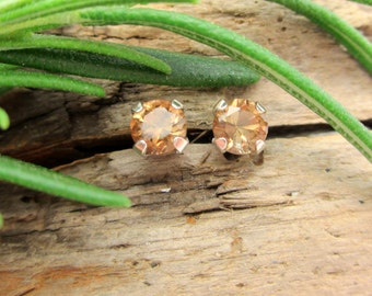 Brown Topaz Earrings in Gold, Silver, Platinum, or Palladium with Genuine Gems, 4mm Lot 8 - Free Gift Wrapping