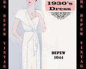 Vintage Sewing Pattern 1930's Dress in Any Size Depew 1044 Draft at Home Pattern - PLUS Size Included -INSTANT DOWNLOAD-